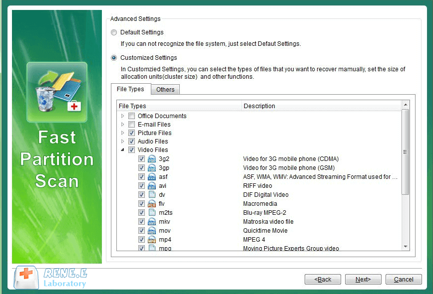 select file types to recover