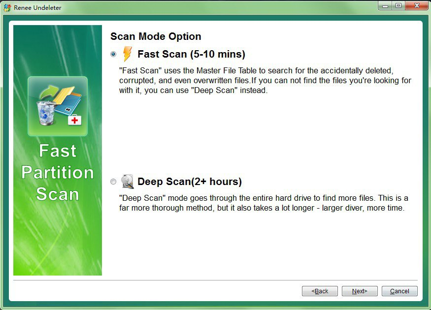 Select fast scan mode