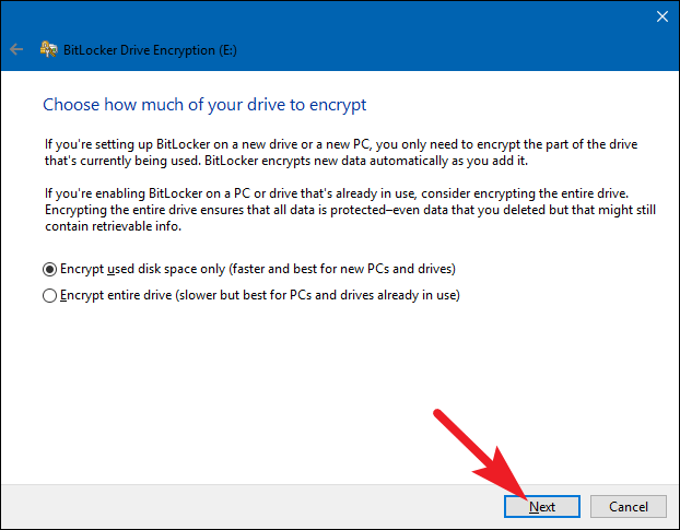 select the space to lock with Bitlocker