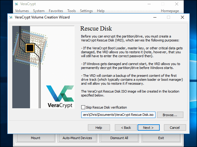 create rescue disk in veracrypt