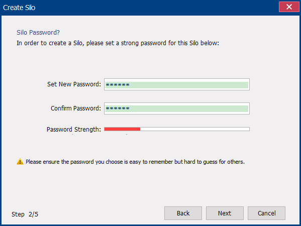 set password for the virtual encrypted disk in secure silo
