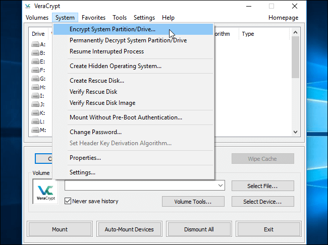 select encrypt system partition in veracrypt