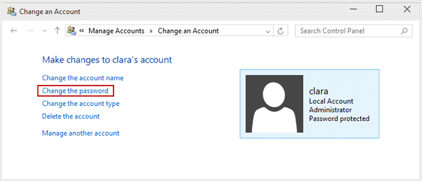 change login password for another local account