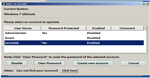reset the password for selected account