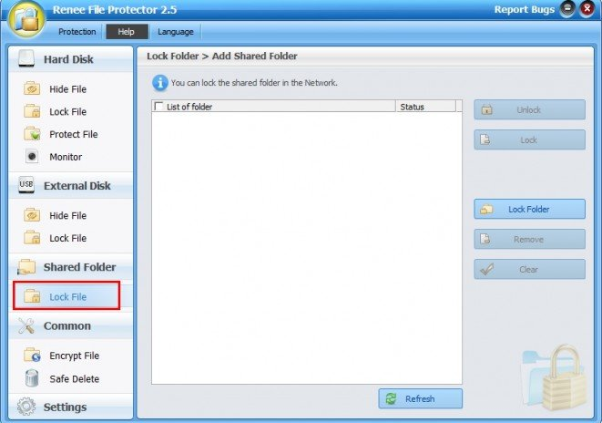 select shared folder protection