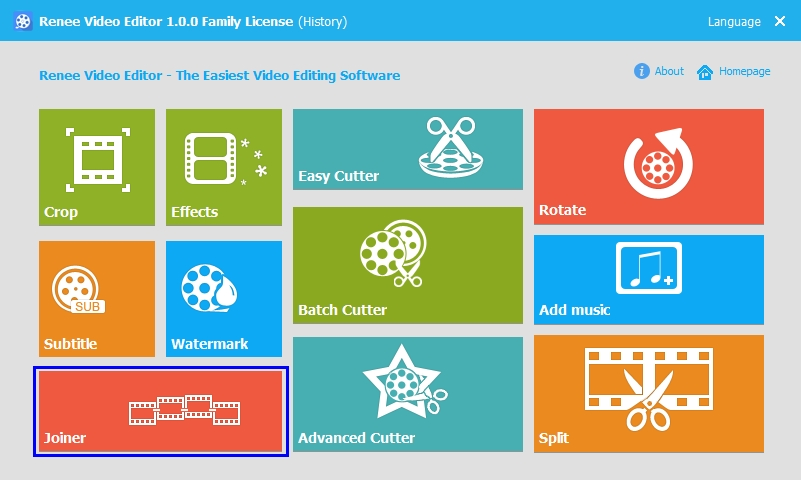 click joiner in renee video editor on mac