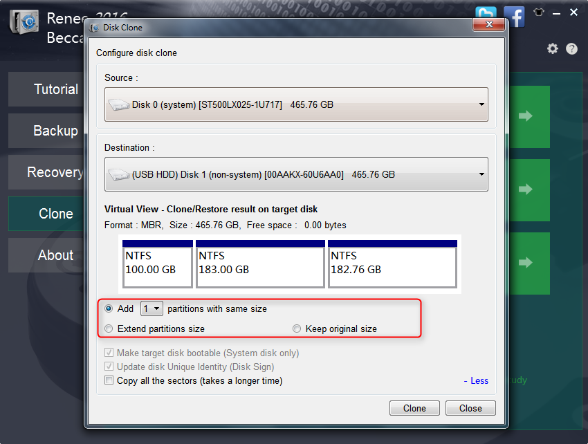 more settings for hdd clone