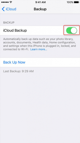 enable backup function in iphone with icloud 2