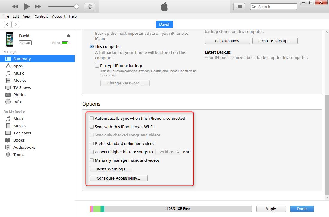 other backup settings