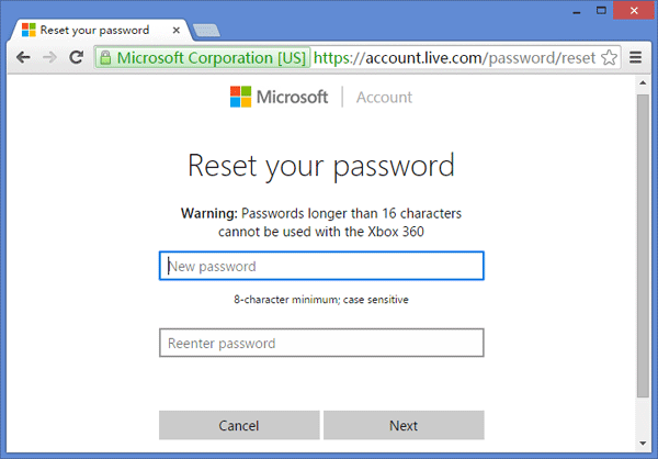 set the new password for Microsoft account