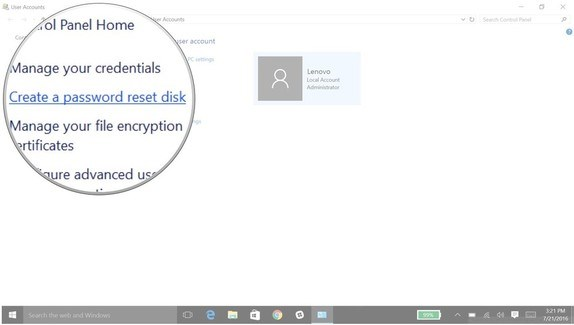 click to create windows 10 password reset disk