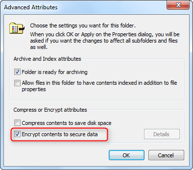 choose encrypt to secure data to lock target folder