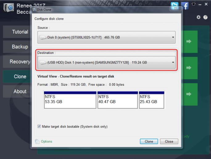 select target SSD