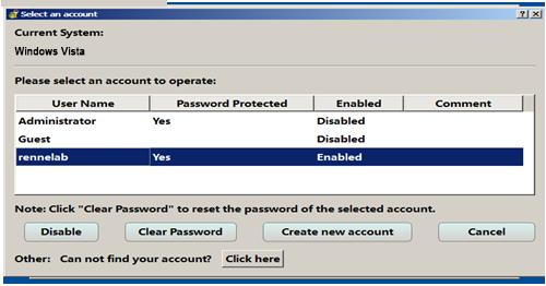 reset password for windows vista