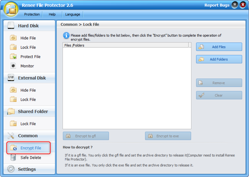Select Encrypt File in Common function