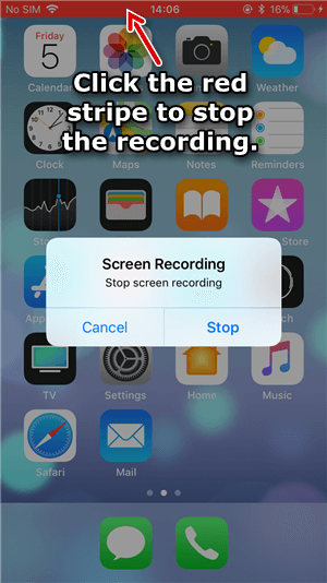click to stop the recording