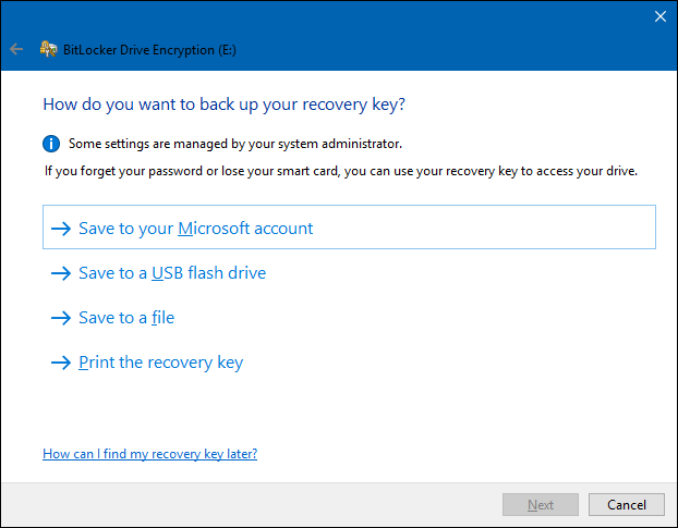 select a method to save the bitlocker password