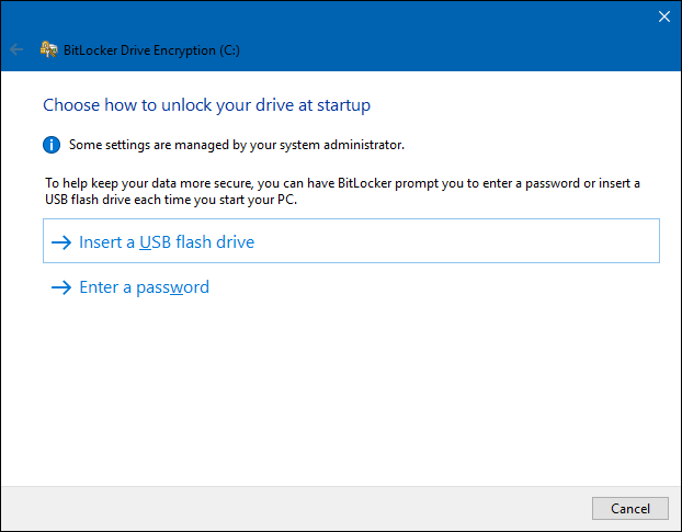 select an Bitlocker unlocking method