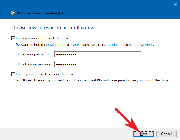 set the password for bitlocker in windows