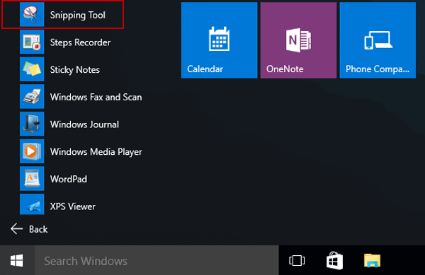 launch snipping tool in windows