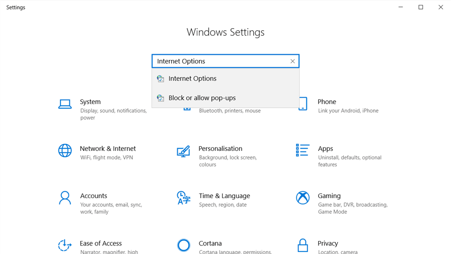 search in Windows settings