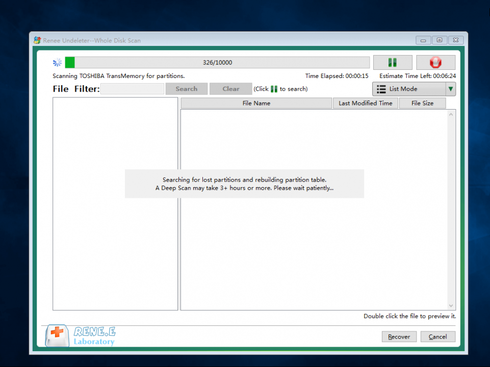 recovering from disk in undeleter disk scan