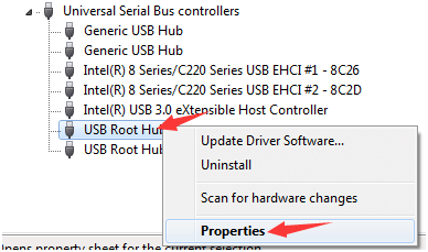 select properties of USB root hub