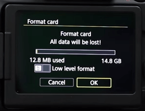 confirm to format the SD card