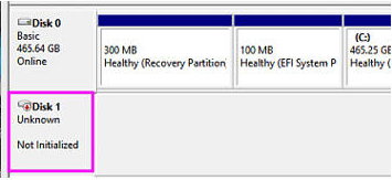 disk is shown as unknown and uninitialized