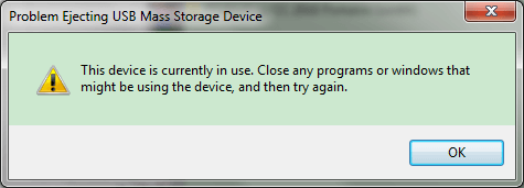 fail to eject the usb devices