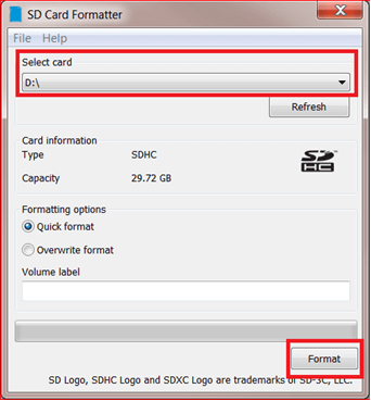 select card in sd card formatter