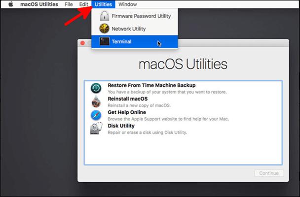 select terminal in utilities