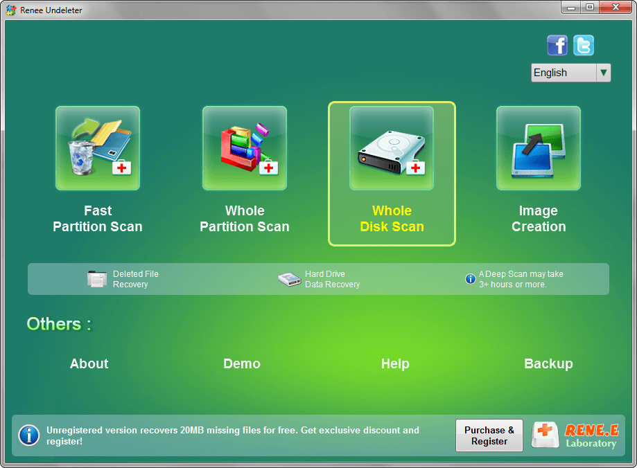 select whole disk scan to scan disk in renee undeleter