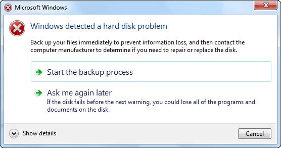 windows detect a disk problem