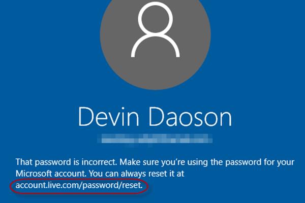 Reset Microsoft password
