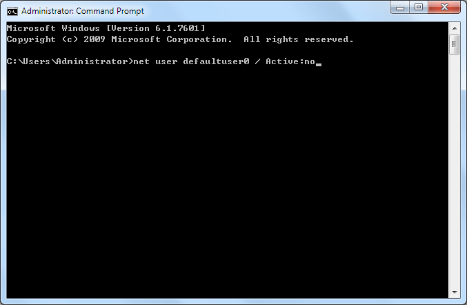 deactivate defaultuser 0 with cmd