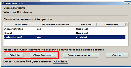 remove password for defaultuser0 account