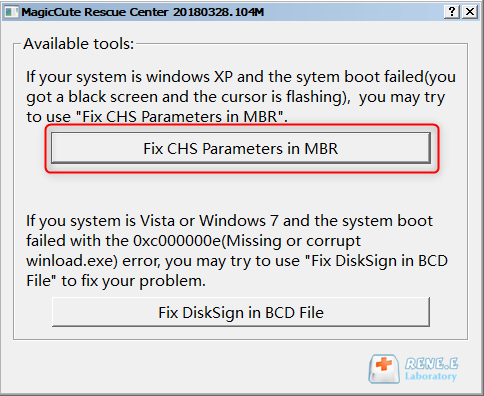 fix mbr parameter in renee passnow to fix windows 10 error