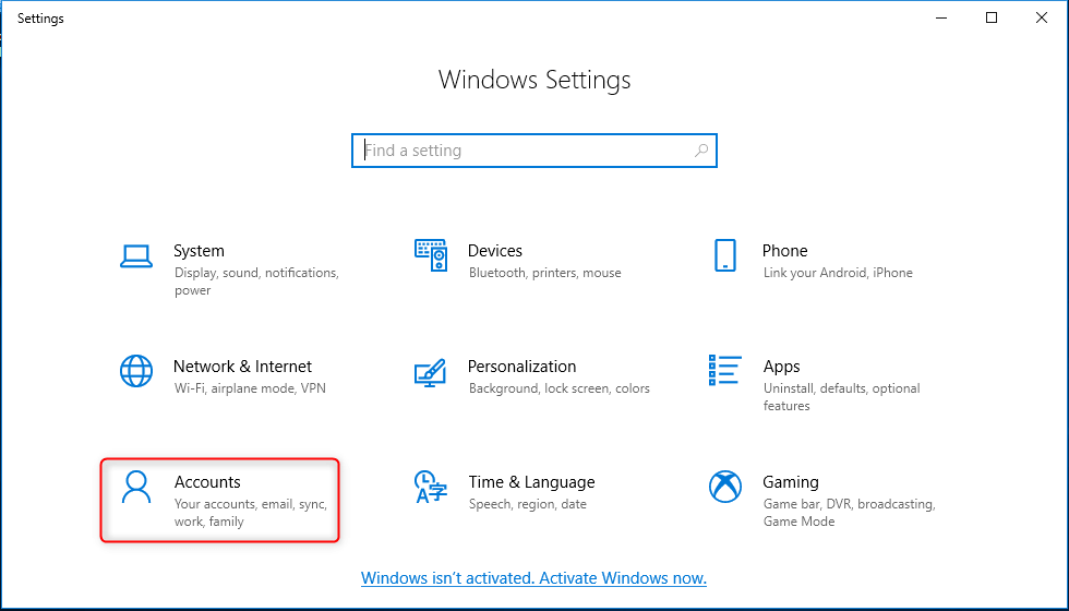 select account in settings