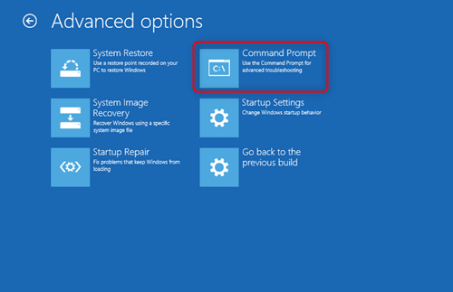 select command prompt in advanced option