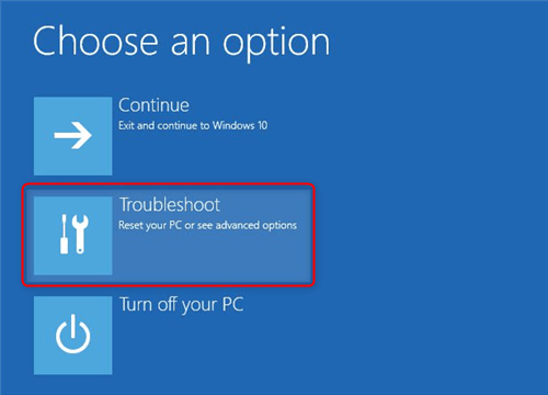 select troubleshoot in windows safe mode