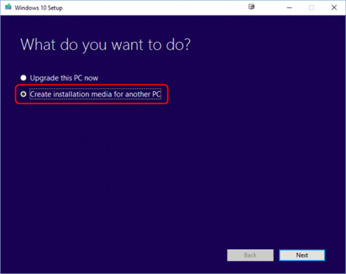 windows 10 media create for another computer