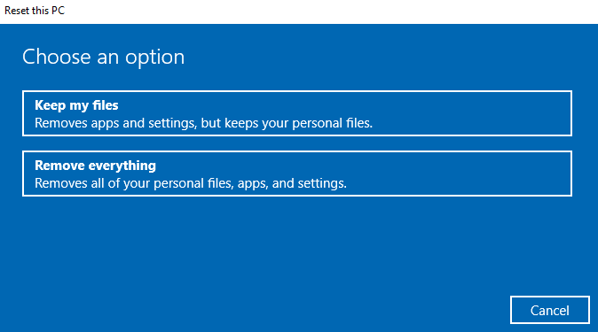 Remove everything in Windows 10
