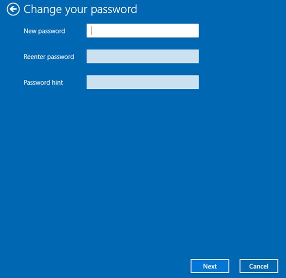 change local account password