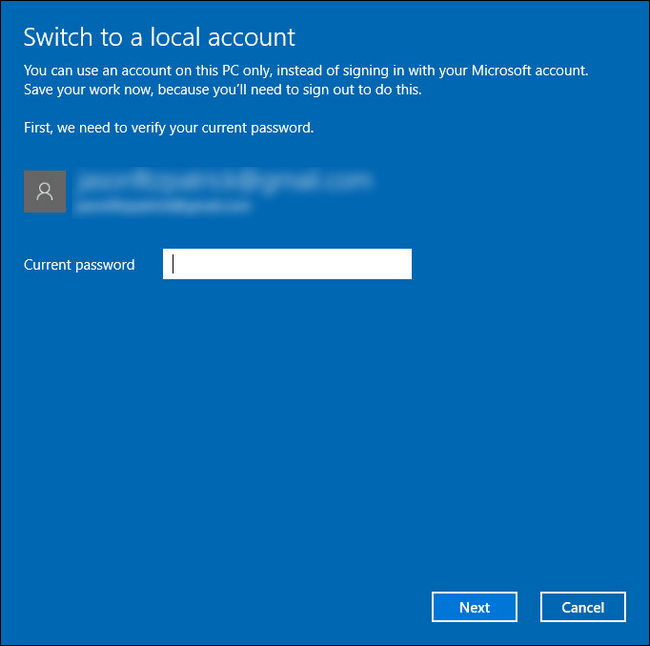 enter the password of the Microsoft account