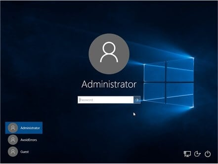 login windows 10 with built-in administrator