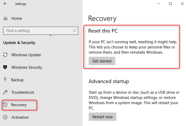 Reset to format PC or nec laptop in Windows 10