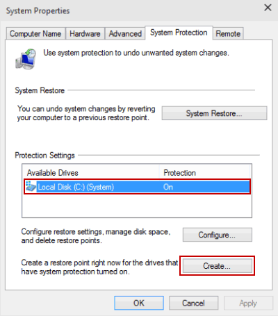 select hard drive and tap create
