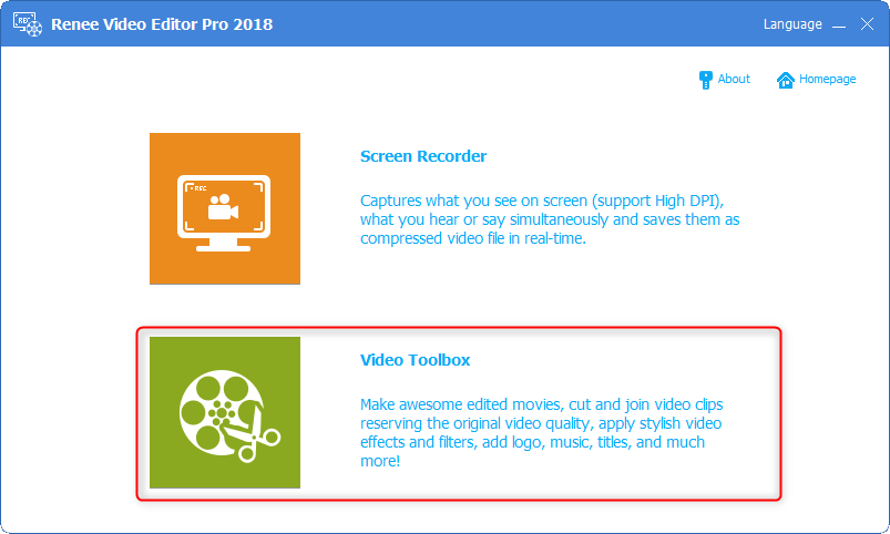 Step 1: Select Video Toolbox