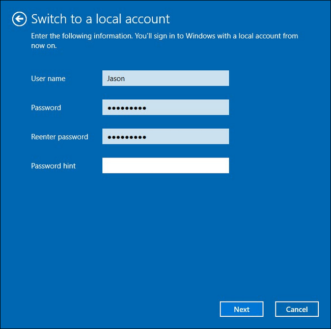 set the account name and password for the local account